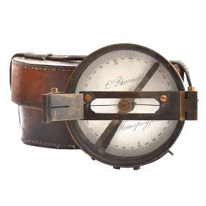 Compass of artillery in a leather case