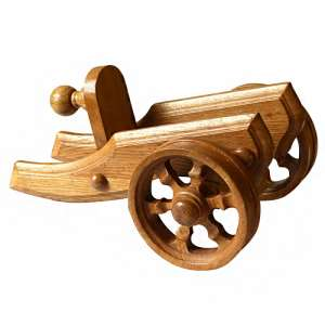 Wooden stand-carriage for wine bottle