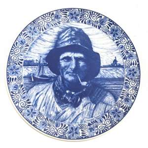 Massive decorative plate depicting fisherman