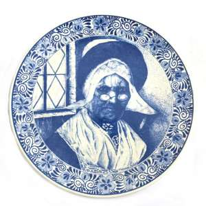 Massive decorative plate with the image of the old woman