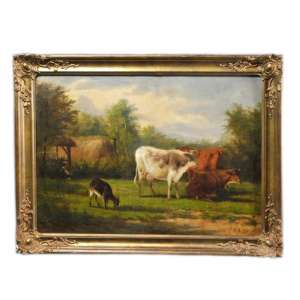 "Picture in a frame ""Landscape with cows"""