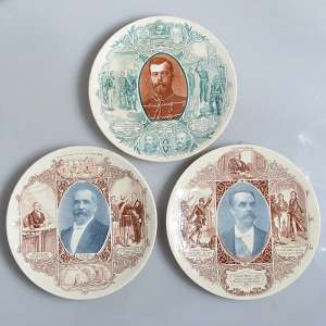 Lot of plates devoted to Russian-French friendship