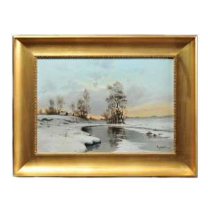 "The painting ""Winter landscape in Russian village"""