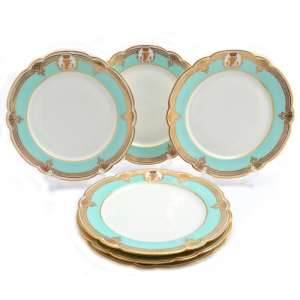 Set of 6 table plates with baronial monogram