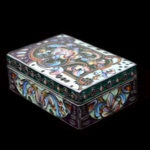 Russian silver enamel snuff box in the