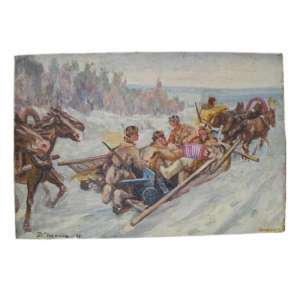 "The painting ""Soldiers in the sleigh"" brush Chersky D., 1948"