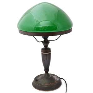 Table lamp with green shade