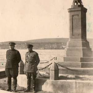 Photo of General of the army F. I. Tolbukhin on the banks of. the lake Balaton