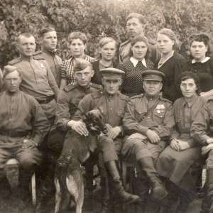 Photo of a group of soldiers and officers of the red army civilians, 1943