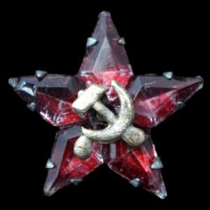 Glass star on cap or the lapel of a jacket