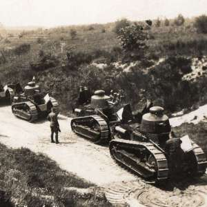 Czechoslovak postcard with the image of tanks