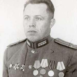 Photo of the Colonel of the red army with military awards