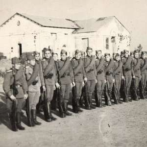 Photo order of cadets with rifles Mosin