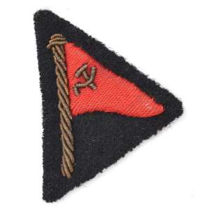 The patch (box) from the sleeve of his jacket of the captain of the Soviet merchant fleet