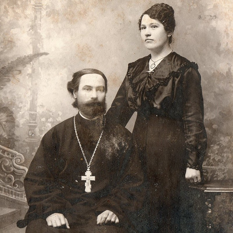 Photo of the Orthodox priest with his wife
