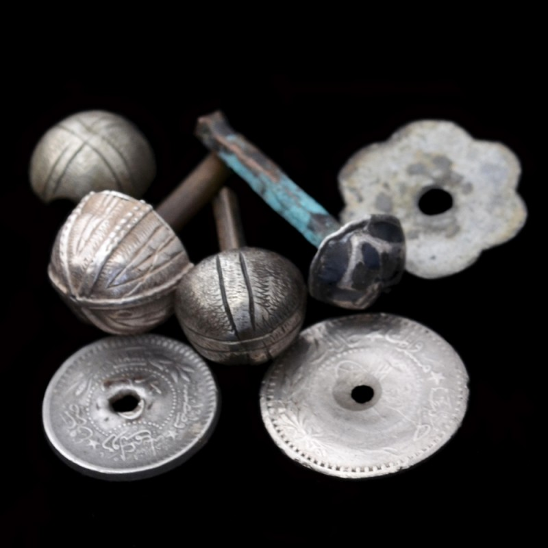 Lot silver items from the handle of the Caucasian daggers
