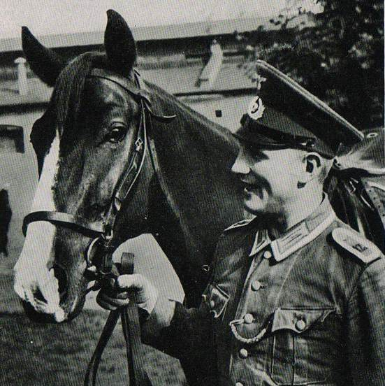 "Postcard ""Soldiers 12 regiment of the Wehrmacht with a horse"""