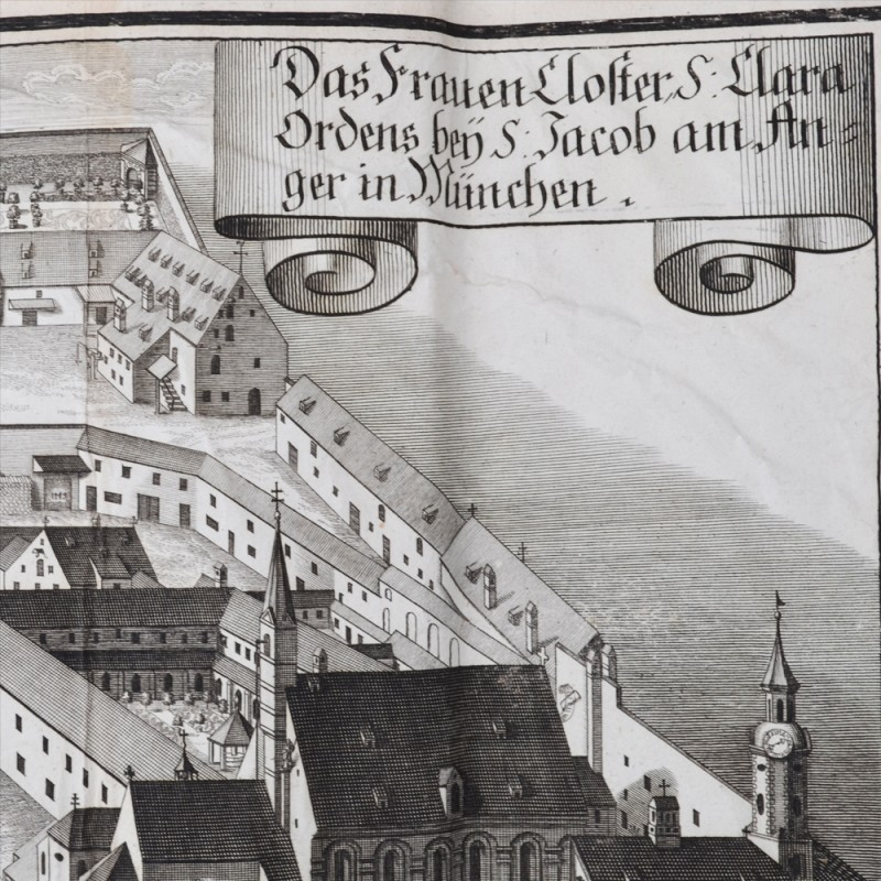 Engraving XVIII century with a view of Munich